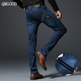 Wholesale cowboy trousers - QMGOOD High Quality Brand Men Fashion Stretch Slim Jeans Autumn and Winter Straight Casual Male Cowboy Trousers New Hot Sell 32
