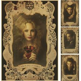2020 vampire diaries movie Cartel retro The Vampire Diaries Poster Mate Papel Kraft Vintage Movie Retro Posters Decoración Del Hogar vampire diaries movie baratos