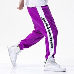 Wholesale High Waist Loose Pants - Pants Men Side Letter Loose Pants Track Pants Male Trousers Elastic Waist Casual Fashion High Steet Joggers Sweatpants