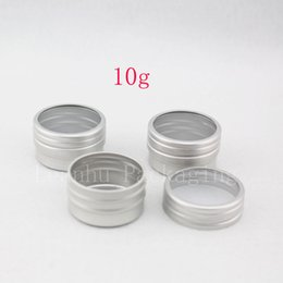 Wholesale Cosmetic Jars Sample Containers - 10g X 100 empty sample cream cosmetic Aluminum container with window screw lid, small lipstick Can ,lip balm jars   tin   pots