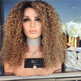 Canada Avant de lacet perruques brésiliennes de cheveux humains Ombre 1B / 30 Honey Blonde Deep Curly Avant de lacet perruques pour les femmes noires 200% de densité cheap curly remy lace front wigs Offre
