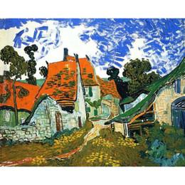 Dipinti di villaggio online-Vincent Van Gogh dipinti di Village Street fatti a mano su tela per camera da letto Alta qualità