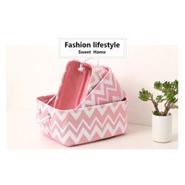 Wholesale Fabric Basket Weaving - Desktop storage basket cloth cotton weaving box toy storage basket snack box basket pink wavy finishing debris