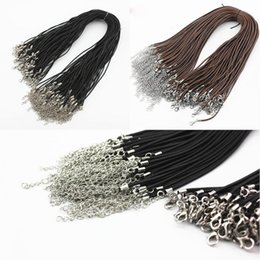 Wholesale Real Leather Jewelry Cord - 10pcs DIY Jewelry Real Leather Chains Pendant Necklace Rope wire Charms Findings Lobster Clasp String Cord 45+5CM