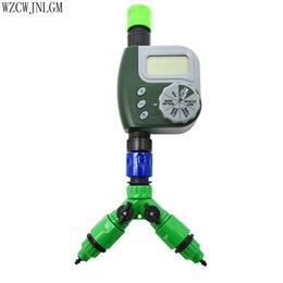 Wholesale Hose Tap Connector - Garden Irrigation Automatic Watering Digital Timer Y-Type 2 Way TAP Connector for 4 7 or 8   11mm Hose Irrigation 1set