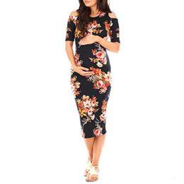 967a2d211c9 dressing for pregnancy Coupons - 2018 Women s Ruffle Off Shoulder Maternity  Dress Women Dress Ruffles Pregnancy