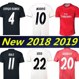 Jerseys de fútbol online-Real Madrid 2019 RONALDO ASENSIO BALE ISCO Home away tercer maillot de fútbol RAMOS BENZEMA camiseta 2018 Camiseta real madrid equipación de fútbol