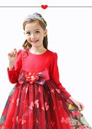 Wholesale Chinese Wedding Red Gown - Flower Girl Dress Children lace Red Petals Flower Butterfly Girls Elegant Formal Wedding Dress Kids Ball Gown Bridesmaid Toddler Dress Emb