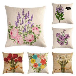Beige Sofa Wohnzimmer Rabatt 45 Cm * 45 Cm Leinen Baumwolle Kissenbezüge  Sofa Kissenbezug Blume Pflanze