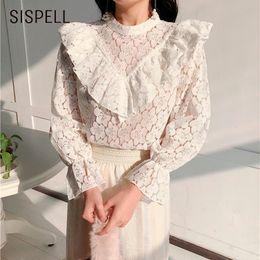 Wholesale korean womens fashion blouses - SISPELL Womens Tops Fashion 2018 Foral Lace Shirt Ruffles O Neck Long Flare Sleeve Spring New Elegent Feminine Blouse Korean