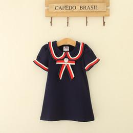 Wholesale blue white stripe dress - New Kids Dress Girl Stripe Princess Dress Girls Short Sleeve Bow Dress 4 Colors 5 p l