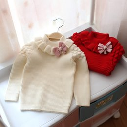 Wholesale baby girl striped sweaters - Kids Girl Pullover 0-4Year Baby Girls Crochet Sweater Tops Infant Princess Knit Bow Sweaters 2018 Autumn Winter Children Clothing D621