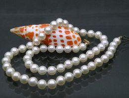 Canada AAA + parfait collier de perles akoya blanc 9-10mm fermoir en or jaune 14