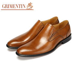 Wholesale Simple Flat Wedding Shoes - GRIMENTIN fashion Italian luxury retro classic mens dress shoes genuine leather simple round toe for men business
