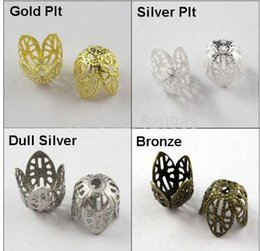 Wholesale gold filigree bead caps - (60Pcs=1Lot ! ) Free Shipping Jewelry Finding 11MM Filigree Bead End Cap Cone Gold Silver Bronze Nickel Plated No.BC06