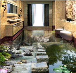 Wholesale Heated Flooring - wallpaper for bedroom Stream Stone Pier Lotus flow 3D floor tiles floor painting white wallpaper