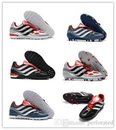 newest 7e814 34842 2018 Original Soccer Cleats Predator Precision TF FG Soccer Shoes Predator  Mania Champagne Football Boots Leather Chuteiras De Futebol Black
