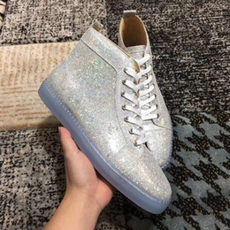 Wholesale Women Shiny Flat Shoes - Shiny Glitter Leather Casual Shoes High Top Fashion Red Bottom Shoes High Quality Women,Men Designer Walking Red Sole Flat Size 35-46