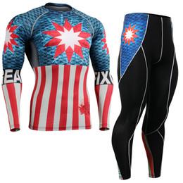 Camisas de manga longa de super-herói on-line-Superhero n 3D Impressão Rash Guard para Homens de Compressão Camisa de Manga Longa Calças Set Man's Sports Training Roupas