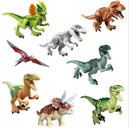 2019 blocos de construção do castelo de brinquedo de plástico 8 Pcs Conjuntos Fashiin Dinossauros de Bloco de Puzzle Tijolos Dinossauros Figuras Blocos de Construção Do Bebê Engraçado Educação Brinquedos para Crianças Presente Brinquedo Das Crianças
