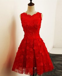 Real Lace Curto Vestidos de Casamento Sem Mangas Na Altura Do Joelho Branco Praia Vermelha Informal Vestidos de Noiva Barato Vestidos de Noiva 2017 Vestidos de Noiva de