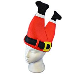 Wholesale Plush Santa Hats - New Arrival Christmas Funny Plush Santa Claus Pant Hats Cap for Adult Children Decor Costume Wholesale Free Shipping 4RC26