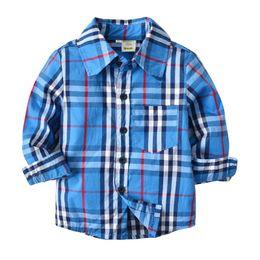 Moda crianças gola camisa xadrez de algodão azul camisas listradas blusa de manga longa meninos tops de outono bebê meninas escola roupas cheap little boy blue clothing de Fornecedores de pouco menino azul roupa