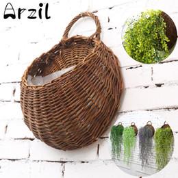 Colgante de pared artificial cesta flores online-Colgante de pared cesta de mimbre de flores naturales maceta de flores maceta de mimbre cesta Jardín de la casa decoración de la pared contenedor de almacenamiento
