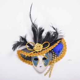 Frigoríficos azules online-Novela Sombrero veneciano Máscara Ornamento Imán de Nevera Venice Tourist Souvenirs Decoración Del Hogar Rojo Verde Azul Rosa Amarillo 12 unids / lote DEC226