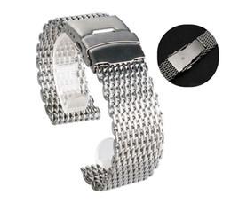 Malla de banda de reloj 22mm online-18 mm 20 mm 22 mm 24 mm de acero inoxidable Milanese tiburón correa de reloj banda de malla pulsera para correa de reloj