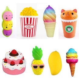 Wholesale Wholesale Ice Cream Cakes - Squishy Collection 8pcs Slow Rising Bread Scented Squishies Glitter Foam Cute Cartoon Kawaii Cake Ice Cream Popcorn Pineapple Squishy Toys