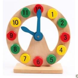 Reloj de madera para niños online-Niños Reloj despertador Modle Saber tiempo Educación temprana Bienestar sabio Iniciación Juguetes Niño Cognición Número Hueco de madera 10 5 mz V