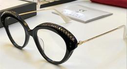 Wholesale Cat Eye Eyeglasses Glasses Frames - Best-selling popular new optical glasses 0251 charming cat eye frame with diamonds frame transparent lens designer eyeglasses for women