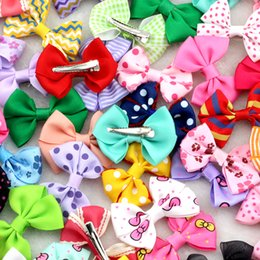 Wholesale Hair Clips Little Girl Ribbon - 10Pcs 2.5Inches Lovely Baby girls Small Top hairbows Grosgrain Ribbon Bows hair clips Little Mini hairpins for Children headwear