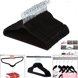 Cabides de roupas de veludo on-line-Não-Deslizamento Terno De Veludo Cabides Racks de 360 graus de Rotação Não-Marcação de Poupança de Espaço Cabides Para Pant Bar Vestuário Camisa Terno Roupas FHH7-1107