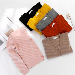 Wholesale Plus Size Vertical - Vintage Solid Color Grey Black Yellow Plus size Tricot Cardigan for Women Long Sleeve Vertical Striped Sweater Jumper Short Cape