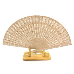 Wholesale chinese fan wholesale - Imitation Sandalwood Folding Fan Chinese Characteristics Wood Silk Hand Wood Fans For Bride Cheap Wedding Favors Guest Gifts 1 8xf jj