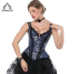 2019 victorian corset xl TOPMELON Retro victoriano corsé Steampunk floral deshuesado corsés Tops mujeres encaje correa delgado bustiers gótico ata para arriba Corselet rebajas victorian corset xl