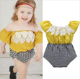 Wholesale Girl Strapless Jumpsuit - Baby Girls Jumpsuit with Tassels Plaid Pants Strapless Romper Summer Clothes Breathable Cotton Splice Pattern 9M-3T