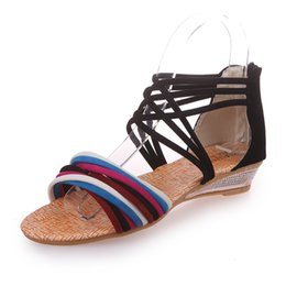 Wholesale free slope - Lady Shoes For Women Summer Leisure Time Slope-heel Weave Bring Rome Fashion Non-slip Women's Sandals Black White 35-40 Code Free Shipping