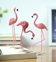 Wholesale Resin Ornaments - Pink Flamingo Desktop Figure Lovely Home Decoration Ornament Gift For Girls Mini Resin Flamingo Sculpture Statue DDA515
