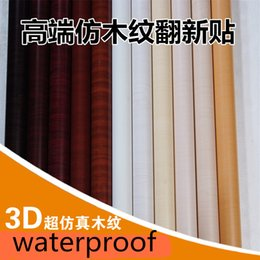 papel de parede imitação de madeira Desconto Papel de parede do PVC pegajoso papel de parede de madeira Mobiliário de desktop renovação imitação de madeira com adesivos de parede grossa à prova d'água-11