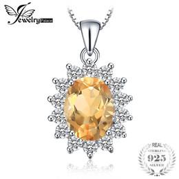 joyería de diana Rebajas JewelryPalace 2.3ct Princess Kate Diana Natural Citrine colgantes para mujeres 925 joyería de plata esterlina en venta sin cadena