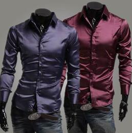chemises longues longues en soie Promotion 2017 Vin Rouge Brillant Mens Casual Chemises En Soie Lumineuses Printemps Automne Vêtements Hommes Chemise À Manches Longues Slim Fit Hommes Vêtements Chemise De Chemise