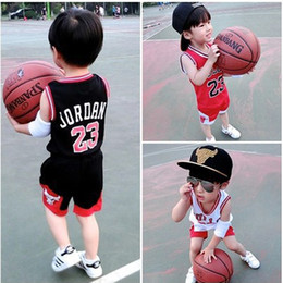 Wholesale Wholesale Kids Clothe Brand - Kids Sportswear Sets Boys Girls Summer Sports Sleeveless Clothing Sets Basketball 23 Bulls Tops Shirts Shorts Kids Casual Clothes Gym Suits