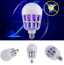 Wholesale bug lamp - Mosquito Killer Lamp 2 in 1 LED Bulb Electric Trap Mosquito Killer Light Electronic Anti Insect Bug Led Night lamps KKA5164