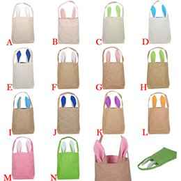 Wholesale piece baskets - Easter Bunny Bag Ears Bags Basket Cotton Easter Burlap Gifts Cotton Linen Handbag 14 Colors 12 Pieces