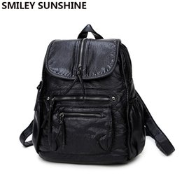 Wholesale Sunshine Style - SMILEY SUNSHINE black leather women backpack female fashion drawstring school bag backpack for teenage girls bagpack sac a dos
