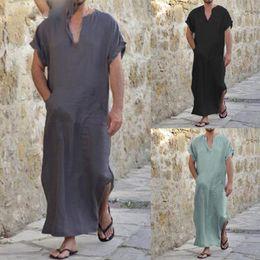 f83d8483e3 Full Length Short Sleeve Robes Men V-neck Solid Casual Loungewear Vintage  Loose Islamic Arab Kaftan Pajamas S-5XL