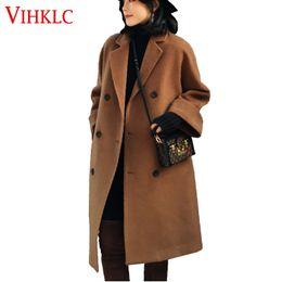 Wholesale Korean Women Xs Wool Coat - 2018 New Autumn Winter Korean Fashion Women Wool Coat Loose Solid Thick Outerwear Hot Sale H726